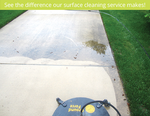 before and after concrete cleaning a ludington michigan driveway