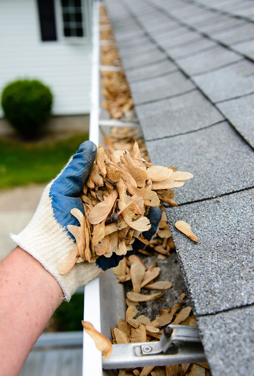 on house roof removing debris in gutter with gutter cleaning service