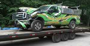Hauling Away Totaled Truck